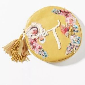NWT Anthropologie Boho Embellished Pouch Yellow T